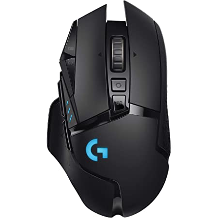 Logitech G502 Lightspeed Wireless Gaming Mouse with Hero 25K Sensor, PowerPlay Compatible, Tunable Weights and Lightsync RGB - Black