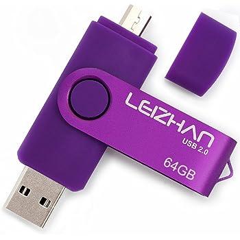 LEIZHAN Memoria USB 2.0 64GB,Pendrive OTG 2 in 1 USB Flash Stick para Samsung Huawei Android PC Tableta Mac-64GB(Morado): Amazon.es: Electrónica