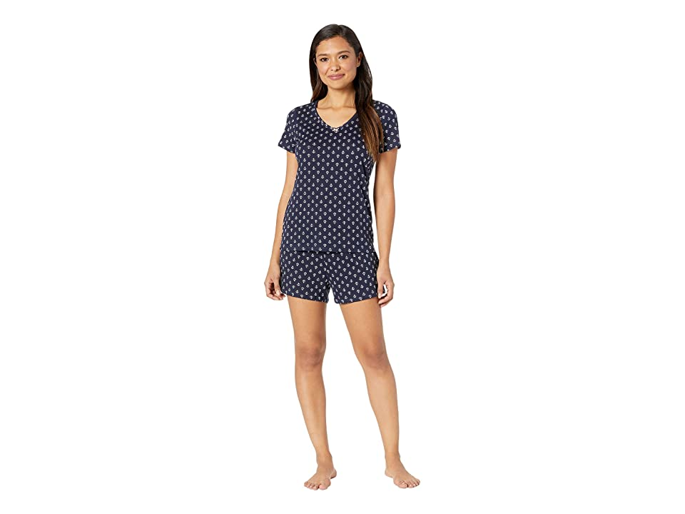 373e65d8f3 Nautica Anchor Print Shorts Pajama Set (Navy Anchor Print) Women