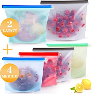 Docilaso Reusable Silicone Food Storage Bag (6 bags)-2xLarge , 4xMedium , Airtight Seal Food Preservation Bag ,Reusable Sandwich bags,Leakproof Silicone Bags for Vegetable, Liquid, Snack, Meat