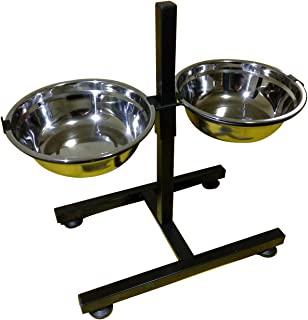 BobbyPet Adjustable Raised Double Stainless Steel Dog Diner Bowls. Elevated Standing with XL Dual Dog Dish