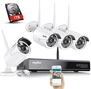 SANNCE 8CH HD NVR Wireless Security Camera System, Home Security Camera System with 4X 2.0MP CCTV IP Cameras Built-in WiFi...