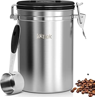 Airtight Coffee Canister, KKTICK Large Coffee Container with Scoop, CO2 Vent Valve and Date Tracker Wheel, Storage Vault for Whole/Ground Coffee Bean, Keeps Your Coffee Fresh - Stainless Steel
