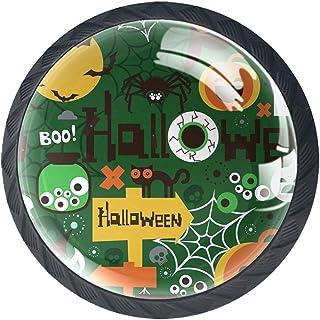 Paquet de 4 boutons d'armoire de cuisine, boutons pour tiroirs de commode Halloween boo Tire les poignées de porte