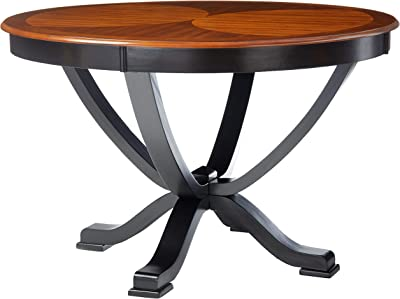 Furniture of America Sahrifa Duotone Round Dining Table, Acacia and Black Finish