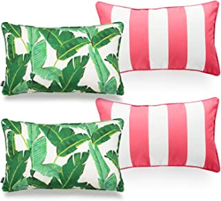 Hofdeco Tropical Indoor Outdoor Indoor Outdoor Pillow Cover ONLY, Water Resistant for Patio Lounge Sofa, Green Banana Leaf...