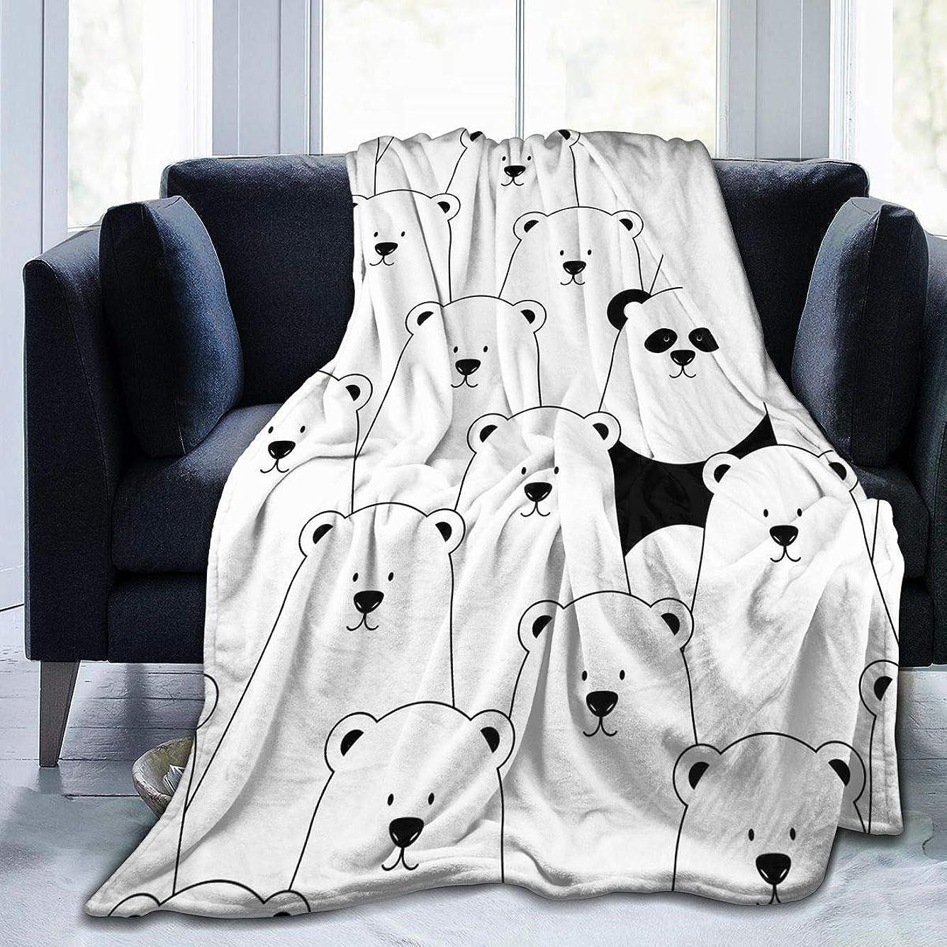 抑圧するコンベンション発疹ホッキョクグマ パンダ 毛布 掛け毛布 ブランケット シングル 暖かい柔らかい ふわふわ フランネル 毛布 三つのサイズ