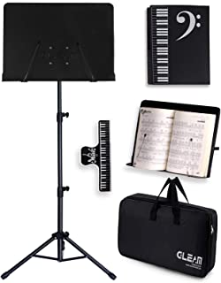 GLEAM Sheet Music Stand – 2 in 1 Dual-Use Desktop Book Stand Metal with Carrying..