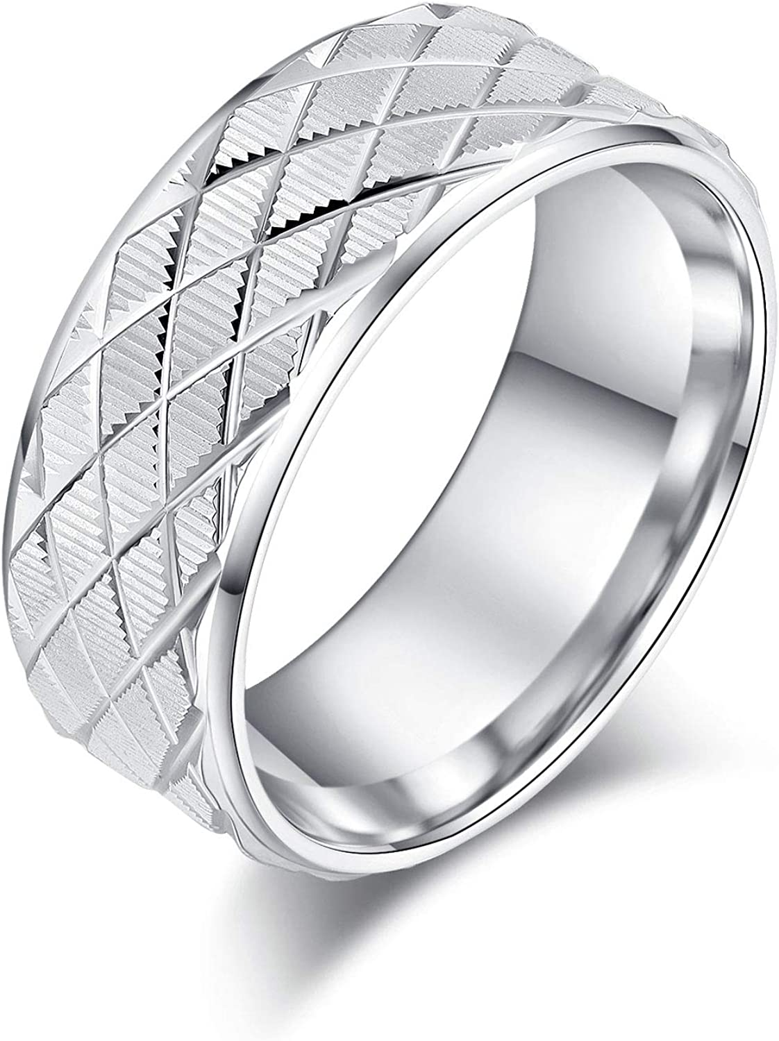 6mm or 8mm NEW Solid Unisex Comfort Silver Fit and shopping Lines Gr Sterling