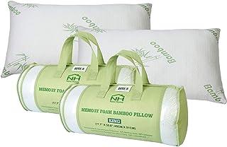iMounTEK - Almohada de espuma viscoelástica transpirable con rayón de bambú transpirable con funda de almohada lavable, almohadas premium para dormir ? dormir/estómago/lateral, almohadas de bambú para cama de enfriamiento (tamaño King Size) (2 unidades)