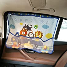 SSAWcasa Car Window Shade for Baby,SUV Sun Shade with Suction Cups and Toys Storage Bag for Side Rear Window,Protect from Sun Glare,Heat and UVUniversal Fit All Vehicles,Trucks,Auto (Blue)