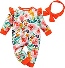 Baby Gifts,Infant Newborn Baby Boys Girls Floral Print Romper Jumpsuit Headband Outfits