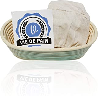 10 inch Oval Banneton Bread Proofing Basket Set- Professional Brotform with Linen Liner- Perfect for Rising Sourdough, Boules and Other Artisan Bread Varieties!