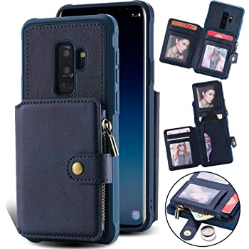 Kudex Samsung S9 Plus Wallet Case, Leather Flip Folio Case with Credit Card Holder Money Pocket Magnetic Buttons Kickstand Shockproof Protective Zipper Cover for Samsung Galaxy S9 Plus 6.2Inch (Blue)