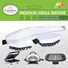Non-Scratch Indoor Electric Grill Brush with Free Replacement Head | Cleaning Non-Stick Inside Grills, Panini Press Brushes, Waffle Machine Cleaner with Good Wide Grip