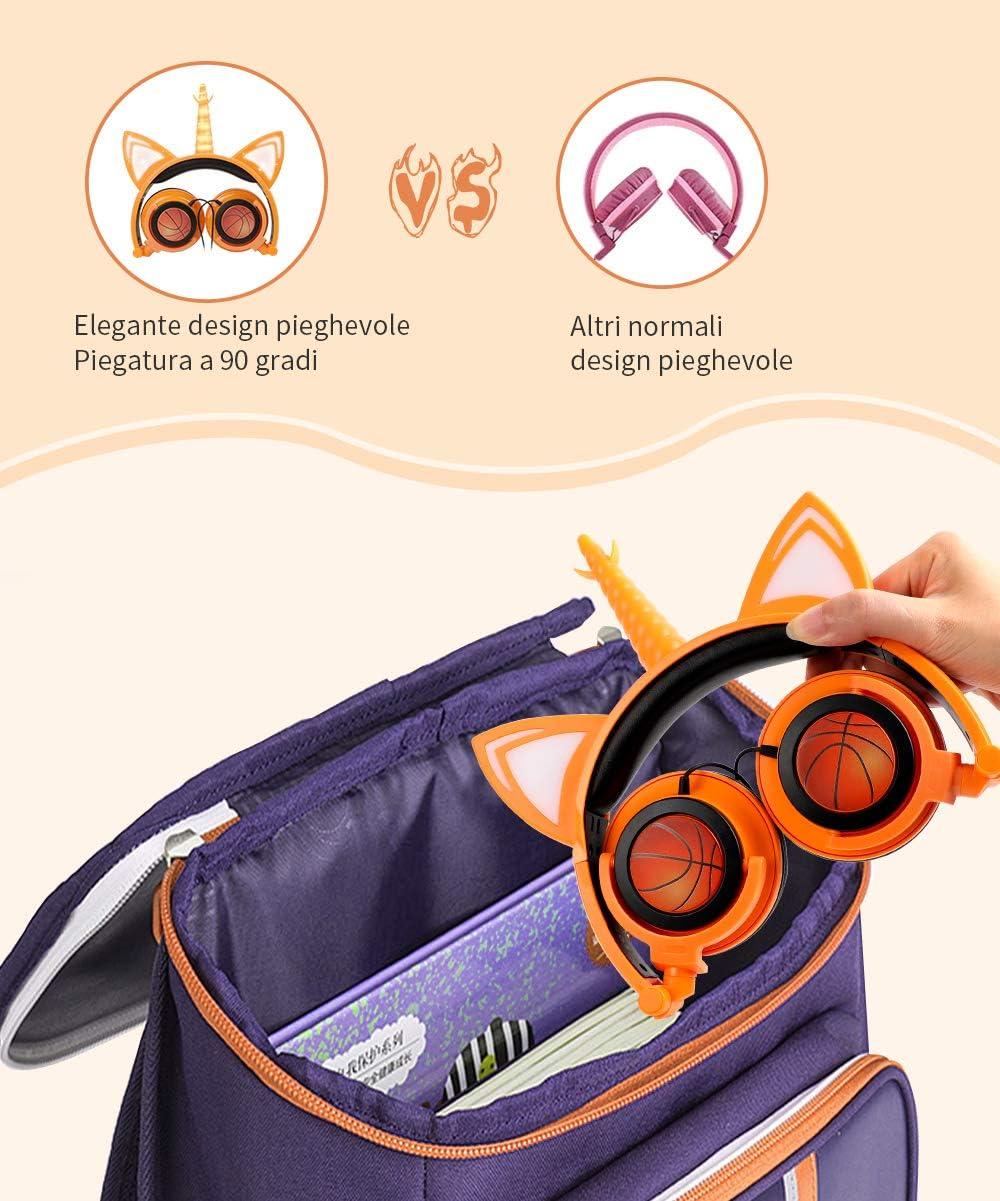 con micr/ófono 85 dB LED volumen plegable Auriculares de unicornio para ni/ña unicornio con cable con orejas de gato Sunvito color naranja auriculares para ni/ños
