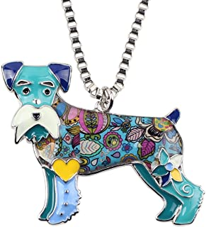 "BONSNY Signature Dog Collection Love Pets""Silver""Statement Schnauzer Necklace Dog Animal Pendant"