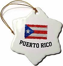 "3dRose Puerto Rico Distressed Flag on Brick Wall Snowflake Ornament, 3"""