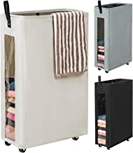WOWLIVE 27 inches Slim Rolling Laundry Hamper with Wheels Tall Thin Laundry Basket with Clear Window Handy Collapsible Clo...