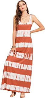 Romwe Women s Tie Dye Striped Deep V Neck Sleeveless Casual Maxi A Line  Dress c9f17dc40