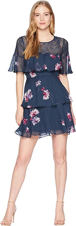 Lace Trim Bodice Ruffle Short Essential with Print