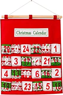 Bestgift Hanging Countdown Advent Calendars Multi-Layer Candy Storage Bag Red 15.9x20.5 Inch