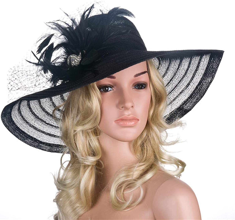 HiiWorld Women Dress Hats Church Wedding Kentucky Derby Wide Brim Feather Veil Sun Hat Female Floppy Hats for Summer