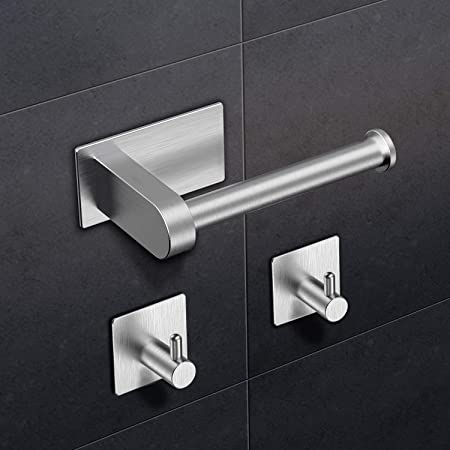 RYMALL Porte Rouleau de Papier Toilette,Porte Papier WC Auto-adhésif, Support Papier Toilettes Acier INOX,pour Porte Rouleau Toilette pour Salle de Bain et Cuisine(avec 2 Crochets)
