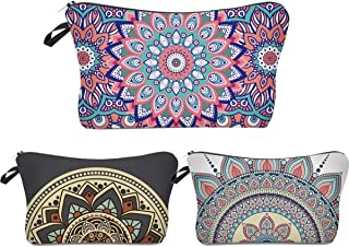 SODIAL Roomy Cosmetic Bag,3 Piece Set Waterproof Travel Toiletry Pouch Makeup With Zipper (Mandala Flowers)