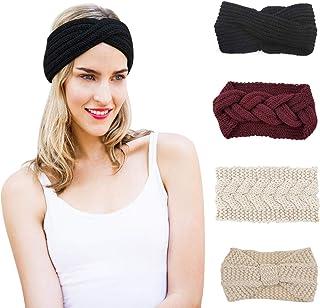 Libertepe 4 Pieces Knit Ear Warmer Headband Beanies Head Band Head Wrap Crochet Turban for Women and Girls
