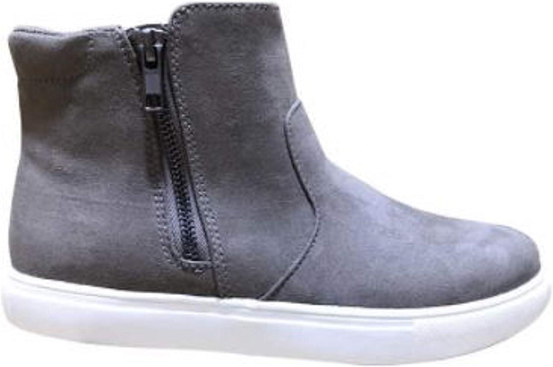 IZOD Women's Mila Memory Foam Side Zip Suede Leather Ankle Sneaker Boot