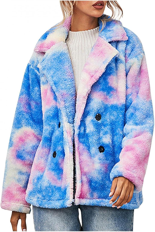 Misaky Women Fleece Tie-dye Coat Long-sleeved Lapel Double breasted Plush Jacket Shaggy Coat
