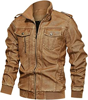 Jacket&Coat for Men's Plus Size Denim Jacket Loose Solid Color Washed Leather Jacket with Stand Collar Top L-6XL