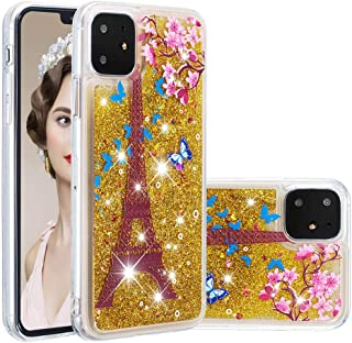 Glitter Case for iPhone 11,QFFUN Bling Floating Liquid Quicksand Soft Clear Slim Fit Silicone Case with Screen Protector Shockproof Transparent Protective Cover Bumper - Butterfly Tower