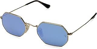 RAY-BAN RB3556N Octagonal Sunglasses, Shiny Gold/Blue Flash, 53 mm