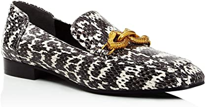 Tory Burch Women's Black White Leather Jessa Loafer Gold Buckle Land Smoke