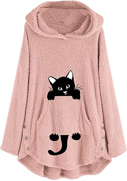 IEason Plus Size Women Fleece Pullover Cat Embroidery Warm Hoodie Top Button Blouse