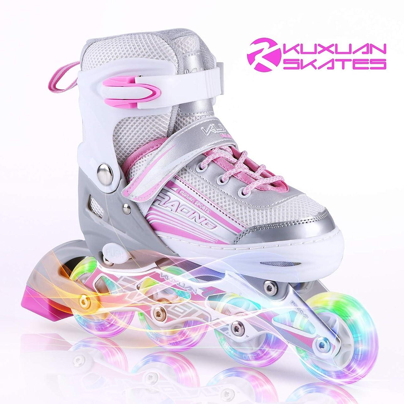 ナンセンス比類のないウッズ子供用 インラインスケート キッズ ローラースケート ジュニア 女の子 男の子 初心者 向け Inline skate サイズ調整可能 2カラーから選べる