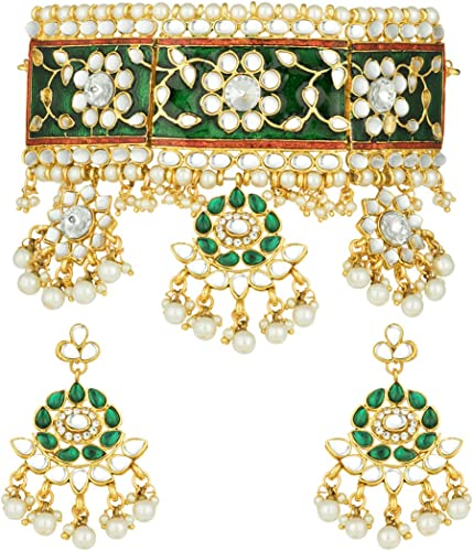 18K Gold Plated Rani Padmavati Dulhan Bridal Wedding Necklace Jewellery Set For Women