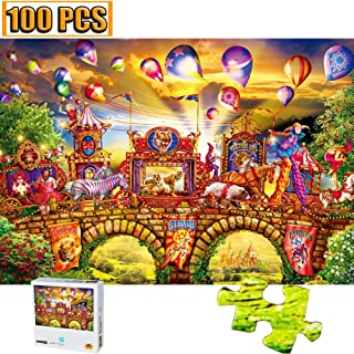 100 Pieces Jigsaw Puzzles Puzzles Carnival Circus Artwork Art for Teen Adult Grown Up Amusement Park Balloon Jigsaw Puzzle Toy Educational Games Gift 100 PCS Home Decor Jigsaw Puzzle Toys Games