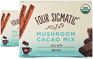 Four Sigmatic – Mushroom Hot Cacao Mix with Reishi (2 Packs of 10 Packets) – Reduces Anxiety, Stress and Relaxes The Body - USDA Organic, Vegan & Paleo