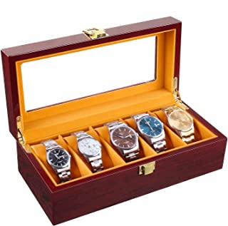 Homfa Wooden Watch Box, 5 Slots Watch Display Case with Glass Top and Locking Clasp, Multi-Functional Storage Organizer for Display, Decorations, and Watches Lovers, Cherry