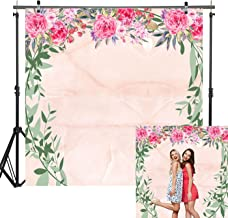 Haboke 6x6ft Durable Fabric Fantasy Light Pink Marble Backdrop with Flowers and Round Green Branches for Bridal Shower Bachelorette Birthday Party Photography Background Decorations Photo Studio
