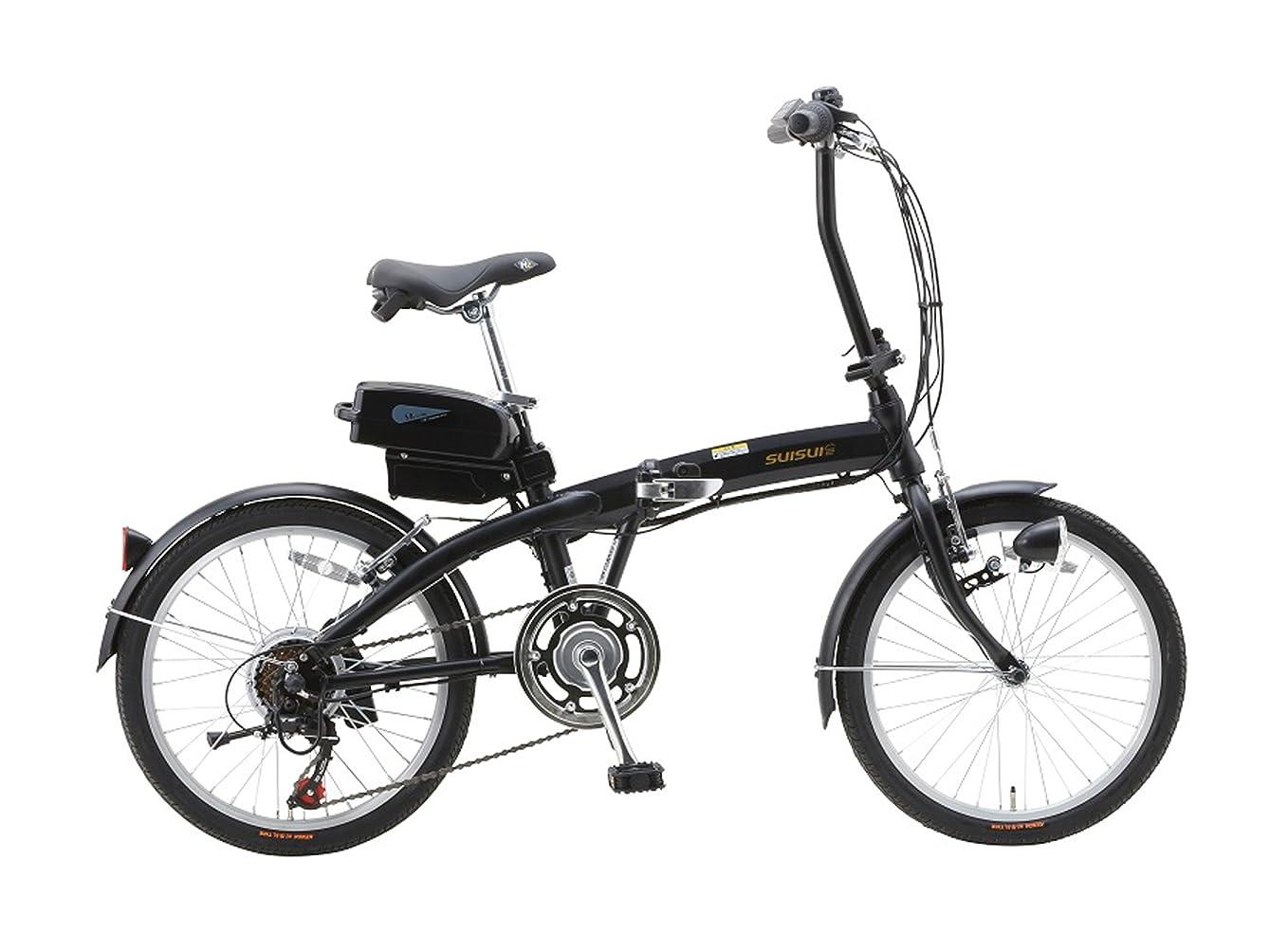 縫う不均一画面SUISUI(スイスイ) 折りたたみ電動アシスト自転車 BM-A30 ブラック 3灯LEDライト付 5.8Ahリチウムイオンバッテリー搭載 20インチ 6段変速 アルミフレーム 28473-0123