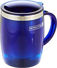 Royalford 14OZ Double Wall Travel Mug (Blue) - Portable with Comfortable High Grip Handle, & High-Grade Stainless Steel In...