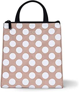 Kate Spade New York Portable Soft Cooler Lunch Bag with Silver Insulated Interior Lining and Storage Pocket, Jumbo Dot