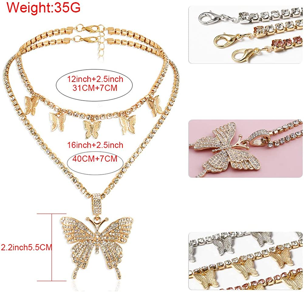 Statment Big Butterfly Pendant Necklace Rhinestone Chain for Women Girl Bling Bling Gold Chain Shiny Crystal Choker Necklace Jewelry Gifts