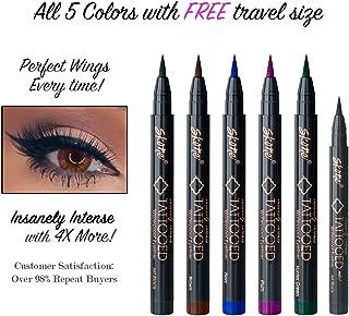 Skone Insanely Intense Tattooed Eyeliner – Smudge Proof, Sweat Proof, 5 PC (Jet Black) with 1 Mini Travel Size