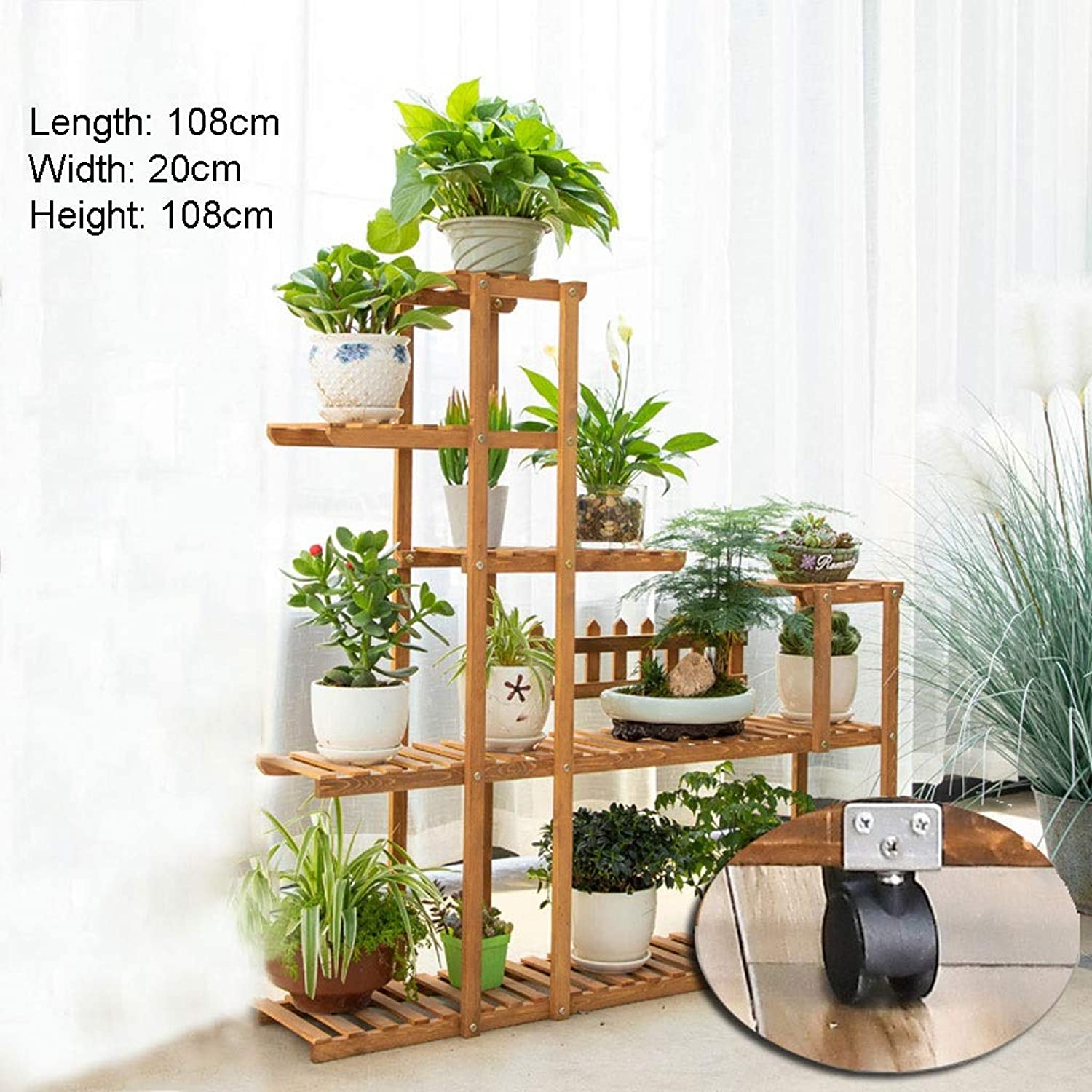 Flower racks - Solid Wood Flower Stand Living Room Balcony Plant Display Shelf Multi-Function Pot Rack Garden Plant Stand (color   with Wheels, Size   108  20  108cm)