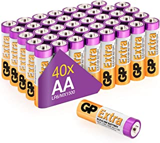 AA Batteries Pack of 40-1.5V / Mignon / LR06 / MN1500/ AM3 by GP Batteries AA Extra Alkaline Batteries ideal for: Toys/Con...
